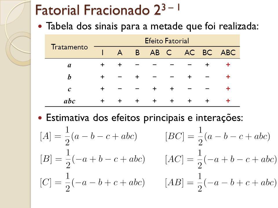 Fatorial Fracionado 23 – 1 Notamos que: [A] = [BC] [B] = [AC]